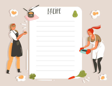 Hand drawn vector abstract modern cartoon cooking studio illustrations recipe card planner templete with girls,food,vegetables and handwritten calligraphy isolated on white background