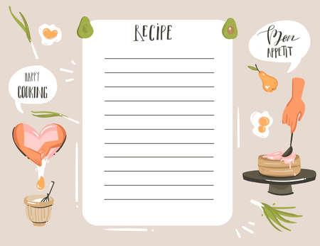 Hand drawn vector abstract modern cartoon cooking studio illustrations recipe card planner templete with woman hands,food,vegetables and handwritten calligraphy isolated on white background