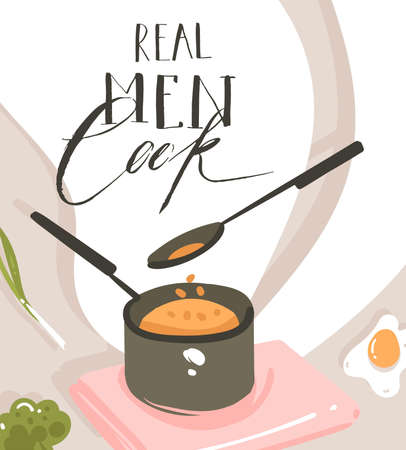 Hand drawn vector abstract modern cartoon cooking class illustrations poster with preparing food scene,saucepan,spoon and handwritten calligraphy text Real Men cook isolated on white background