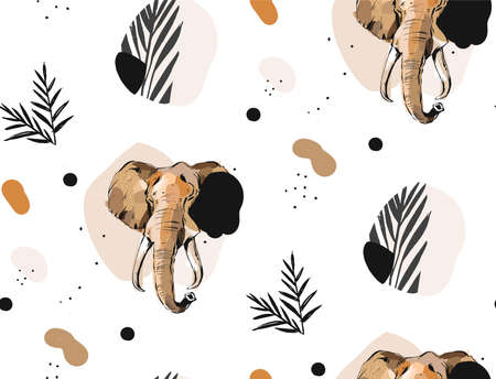 Hand drawn vector abstract creative graphic artistic illustrations seamless collage pattern with sketch elephant drawing and tropical palm leaves in tribal motif isolated on white background 向量圖像