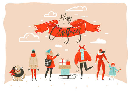Hand drawn vector abstract fun Merry Christmas time cartoon illustration greeting card with group of people in winter clothing,surprise gift boxes and xmas calligraphy isolated on craft background