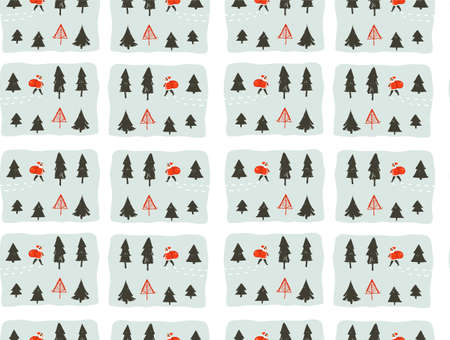 Hand drawn vector abstract fun Merry Christmas time cartoon illustrations seamless pattern with young little boy in Santa Claus costume walkin in pine frozen forest isolated on white background