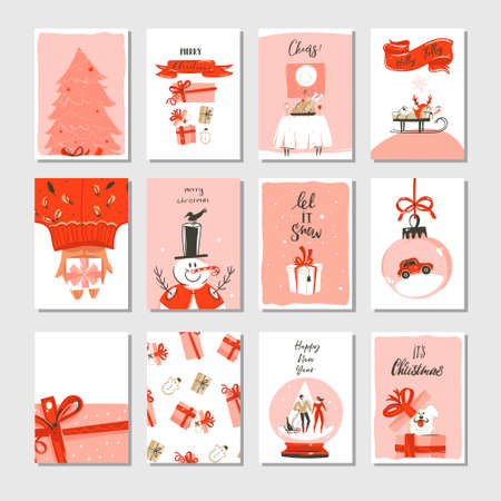 Hand drawn vector abstract Merry Christmas time cartoon cards collection set with cute illustrations,surprise gift boxes,Xmas tree and modern calligraphy in pastel colors isolated on white background