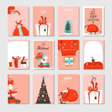 Hand drawn vector abstract big Merry Christmas time and New Year cartoon cards collection set with cute illustrations,surprise gift boxes,Xmas tree and modern calligraphy isolated on white background