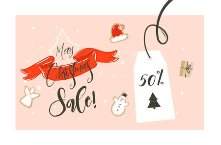 Hand drawn vector Merry Christmas shopping time cartoon graphic simple greeting illustration header design red ribbon,gingerbread cookies boxes and calligraphy Merry Christmas sale isolated on white