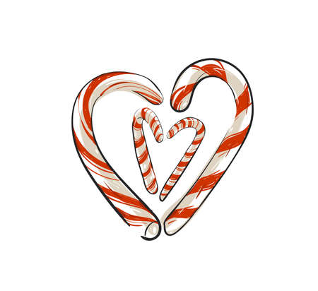 Hand drawn vector abstract fun Merry Christmas time cartoon doodle rustic festive illustration icon with cute holiday candy canes heart shape isolated on white background