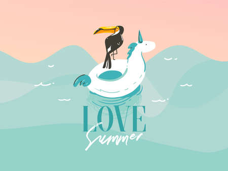 Hand drawn vector stock abstract graphic illustration with a unicorn swimming ,rubber float rings in ocean waves landscape and Love summer typography quote isolated on blue background
