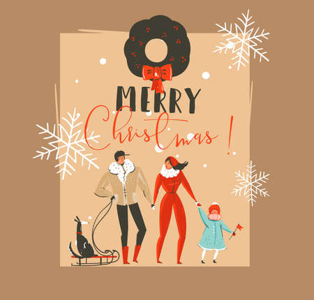 Hand drawn vector abstract Merry Christmas and Happy New Year time vintage cartoon illustrations greeting card template with family people walkin with dog on sleigh isolated on brown background