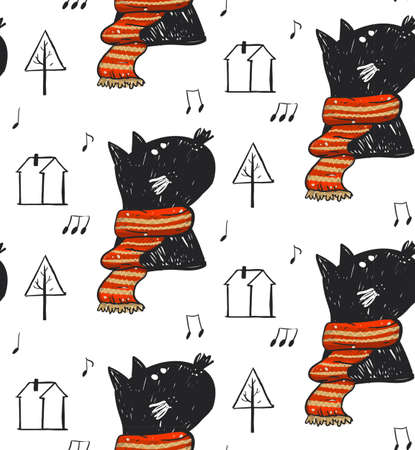 Hand drawn vector abstract Christmas seamless pattern with cute black cat in red scarf illustration,notes,Christmas trees and houses isolated on white background.Winter season outdoor pattern Illusztráció