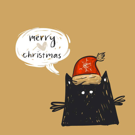 Hand drawn vector abstract Merry Christmas greeting card template with cute black cat in red Santa Claus hat character with speech bubble and modern calligraphy phase Merry Christmas.Happy New Year
