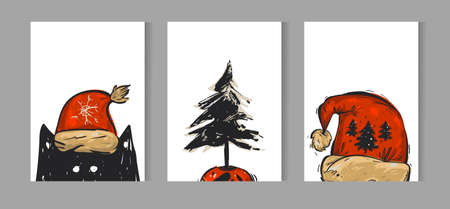 Hand drawn vector Merry Christmas greeting card set with cute funny black cat in red Santa Claus hat character,Christmas tree in pot and red hat illustration isolated on white background Illusztráció