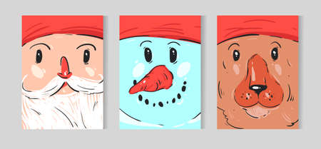 Hand drawn vector abstract Christmas decoration greeting card collection set with cute funny character illustration of Santa Claus,snowman and polar bear.Journal New Year cards Illusztráció