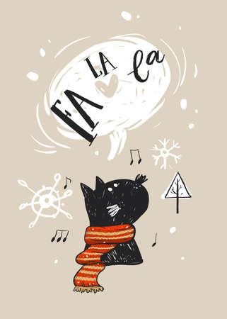 Hand drawn vector abstract Merry Christmas greeting card template with cute black cat character in red scarf,who sings Christmas song Fa La La,Christmas tree,notes and snowflakes