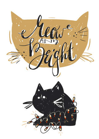 Hand drawn vector abstract Merry Christmas greeting card template with cute black cat character in garland and modern calligraphy phase Meow and bright.Christmas poster,sign,postcard,decoration Illusztráció