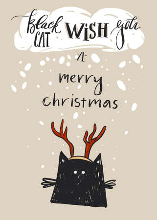 Hand drawn vector abstract Merry Christmas greeting card template with cute black cat character in deer antler and modern calligraphy phase Black cat wish you a Merry Christmas Illusztráció