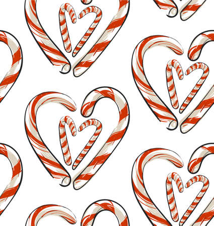 Hand drawn vector abstract Christmas seamless pattern with candy canes in heart shape isolated on white background.