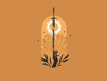 Hand drawn vector abstract stock flat graphic illustration with  elements ,sword,human hand,flowers and sun, magic line moon art in simple style for branding ,isolated on golden background Ilustracja
