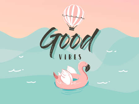 Hand drawn vector stock abstract graphic illustration with a flamingo swimming rubber float ring in ocean waves landscape and Good vibes typography quote isolated on blue background