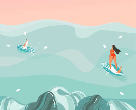 Hand drawn vector stock abstract graphic illustration with a funny sunbathing family people group in ocean waves landscape,swimming and surfing isolated on colour background Illustration