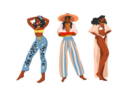 Hand drawn flat vector abstract stock graphic illustration collection set with young happy positive black african american, beauty females in summer outfits isolated on white background Illusztráció