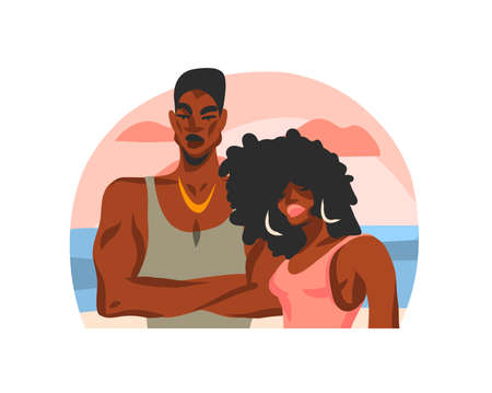 Hand drawn vector abstract stock flat graphic illustration with young happy african american beauty students couple on beach scene isolated on white background Ilustração