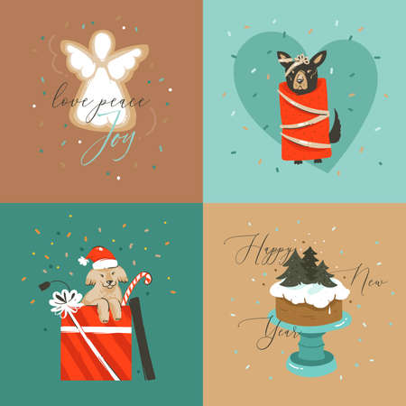 Hand drawn vector abstract Merry Christmas and Happy New Year cartoon illustration greeting cards collection set with dogs,xmas cake and Merry Christmas text isolated on colored background Vettoriali