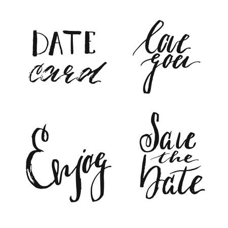 Save the date collection with hand drawn lettering, ampersands and catchwords. Vector set for design wedding invitations, photo overlays and cards. Illustration