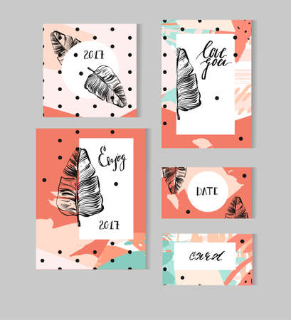 Set of Hand Drawn Universal Cards with tropical palm leaf and polka dots texture. Design for Flayers, Placards, Posters, Invitations, Brochures. Artistic Creative Templates. Abstract Modern Style.