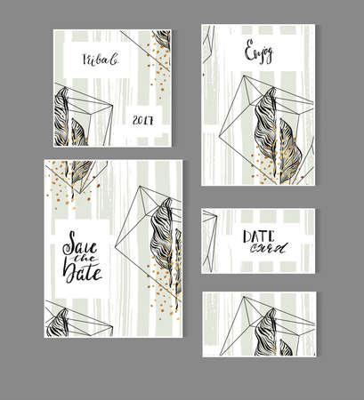 Hand drawn vector abstract modern tropical minimalistic save the date card set template with exotic palm leaf in pastel green and gold colors.Wedding,marriage,save the date,baby shower bridal