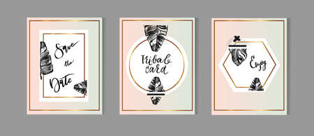 Set of Hand Drawn Universal Cards with tropical palm leaf in pastel and gold colors. Design for Flayers, Placards, Posters, Invitations, Brochures. Artistic Creative Templates. Illustration