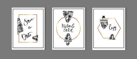 A set of hand drawn style greeting card templates in gold and black colors. Abstract brush strokes, doodles and geometrical elements design. A4 size.