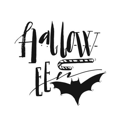 Hand drawn vector Halloween Poster with ink handwritten modern lettering word Halloween,bat and candy.Design element for halloween party or sign isolated on white background.