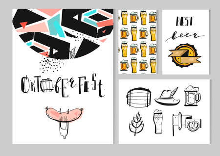 Hand drawn vector abstract textured octoberfest set