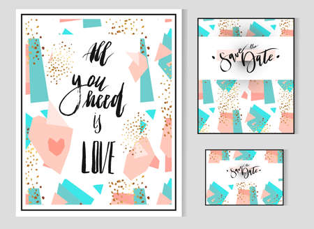 Hand drawn vector Abstract geometric set with save the date card template and poster with handwritten lettering phase All you need is love.Modern abstract design poster, cover, card design.  イラスト・ベクター素材