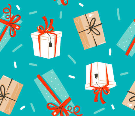 Hand drawn vector abstract fun stock flat Merry Christmas,and Happy New Year time cartoon festive seamless pattern with cute illustrations of Xmas retro gift boxes isolated on color background  イラスト・ベクター素材