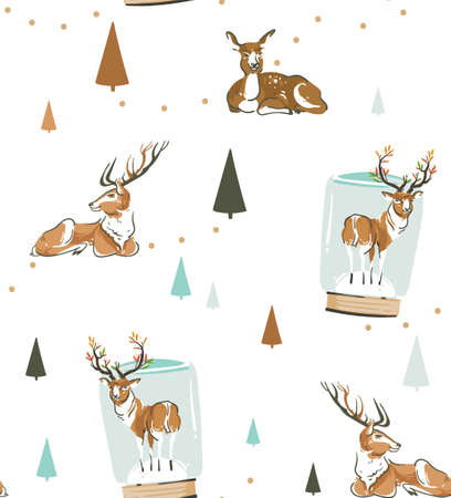 Hand drawn vector abstract fun stock flat Merry Christmas,and Happy New Year time cartoon festive seamless pattern with cute illustrations,of Xmas retro deer and reindeer isolated on white background  イラスト・ベクター素材