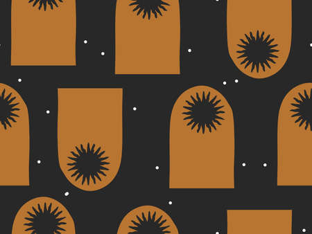 Hand drawn vector abstract flat stock graphic icon illustration sketch seamless pattern with celestial moon,sun and stars, mystic and simple collage shapes isolated on black background  イラスト・ベクター素材