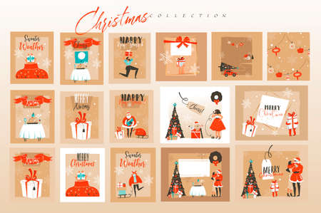 Hand drawn vector abstract fun stock flat Merry Christmas,and Happy New Year time cartoon festive cards bundle set with cute illustrations of Xmas and Santa isolated on color background