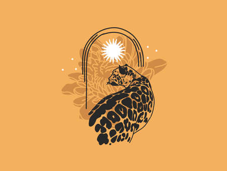 Hand drawn vector abstract stock flat graphic illustration with logo elements leopard and sun,butterfly, magic chrysanthemum in arch , art in simple style for branding ,isolated on color background Illusztráció