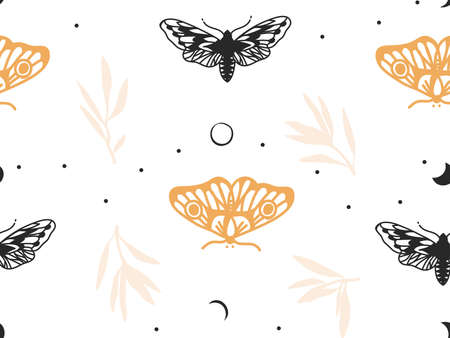 Hand drawn vector abstract flat stock graphic icon illustration sketch seamless pattern with celestial moon,moth and flowers, mystic and simple collage shapes isolated on color background
