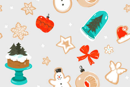 Hand drawn vector abstract fun stock flat Merry Christmas,and Happy New Year time cartoon festive seamless pattern with cute illustrations,of Xmas snow globe and cookies isolated on color background