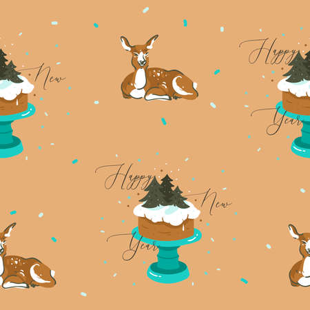 Hand drawn vector abstract fun stock flat Merry Christmas,and Happy New Year time cartoon festive seamless pattern with cute illustrations,of Xmas retro deer and reindeer isolated on color background 向量圖像