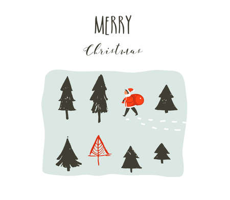 Hand drawn vector abstract fun Merry Christmas time cartoon illustration with Santa Claus child with surprise gift bag walking in frozen forest and xmas calligraphy isolated on white background Stock Illustratie