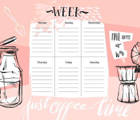 Hand made vector abstract textured Weekly planner template with graphic cooking illustration in pastel colors. Organizer and schedule. Cute and trendy.Design for planning,journaling,business,diary 向量圖像