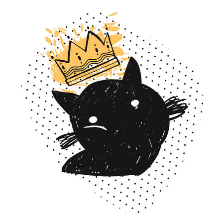 Hand drawn vector doodle sketched silhouette of black cat in gold crown and polka dot texture isolated on white background.Design elements for home decor,sign,halloween background,greeting cards,logo.