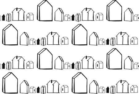 scandinavian geometric pattern vector background. houses scandinavian seamless pattern 向量圖像