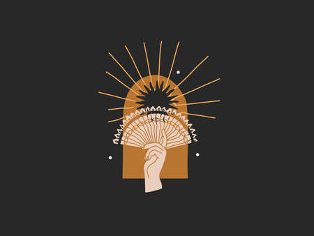 Hand drawn vector abstract stock flat graphic illustration with elements ,gold sun and female hand in arch , magic line art in simple style for branding ,isolated on black background
