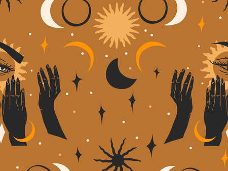 Hand drawn vector abstract flat stock graphic icon illustration sketch seamless pattern with human hands, mystic occult sun and moon phases ,simple collage shapes isolated on color background