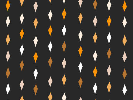 Hand drawn vector abstract flat stock graphic icon illustration sketch seamless pattern with simple collage shapes rhomb in autumn gold colors isolated on black background