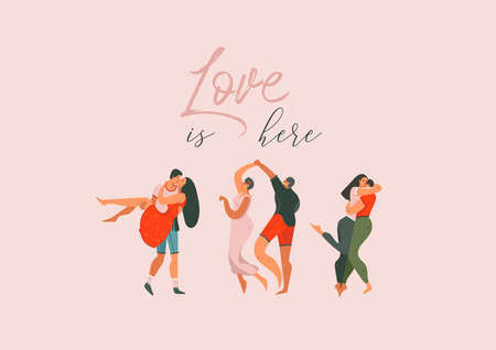 Hand drawn vector abstract cartoon modern graphic Happy Valentines day concept illustrations art card with dancing couples people together isolated on pink pastel colored background